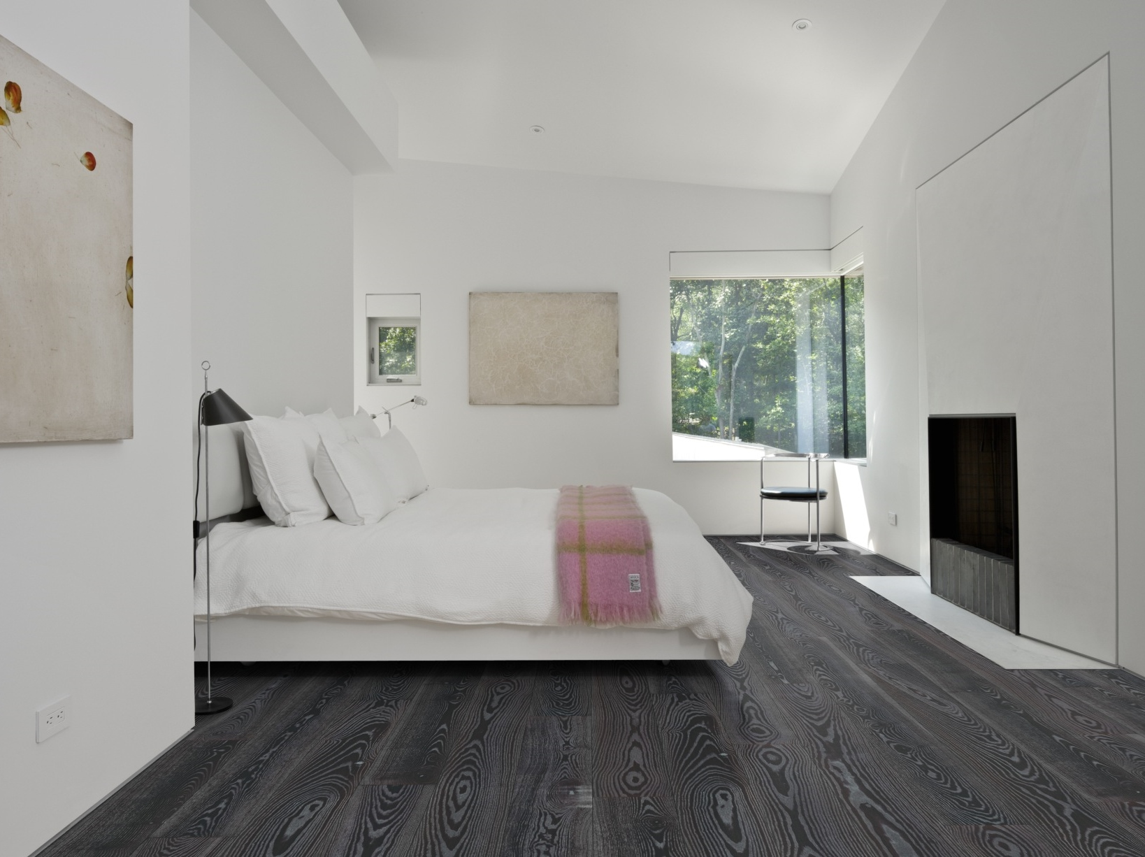 Grey flooring bedroom bedroom review design for Hardwood floors in bedrooms